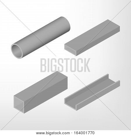 Steel beam isolated on white background. Design elements for the construction and reconstruction. Flat 3D isometric style vector illustration.