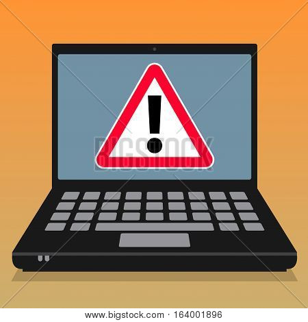 Laptop or notebook computer business concept with computer virus danger vector illustration