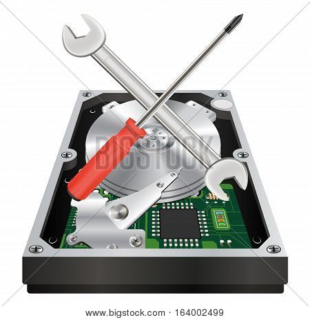 inside of a internal harddisk with wrench and screwdriver