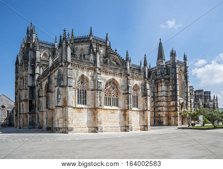 Portugal Batalha. Monastery of Santa Maria da Vitoria and better known to us all as da Batalha Monastery one of the most beautiful works of Portuguese and European architecture as well as one of the most important monuments of the Portuguese Gothic.