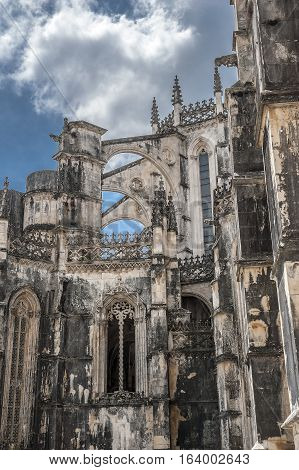 Portugal Batalha. Monastery of Santa Maria da Vitoria and better known to us all as da Batalha Monastery one of the most beautiful works of Portuguese and European architecture as well as one of the most important monuments of the Portuguese Gothic