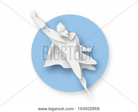 Illustration of flying superhero, business power icon, costume with orange cape, Super Hero cartoon man character, paper style