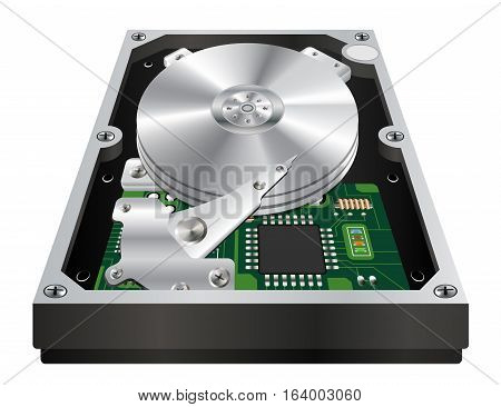 inside of a internal harddisk on a white background