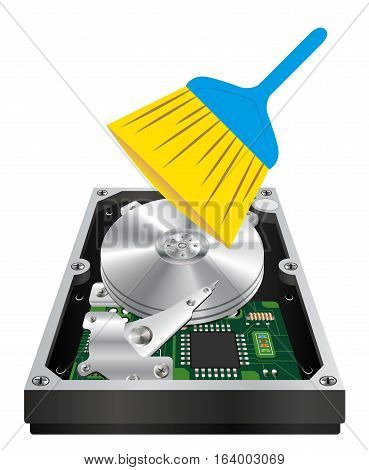 internal harddisk with a cleanning wand brush