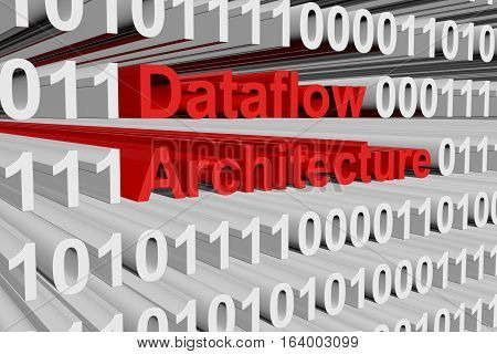 Dataflow architecture in the form of binary code, 3D illustration