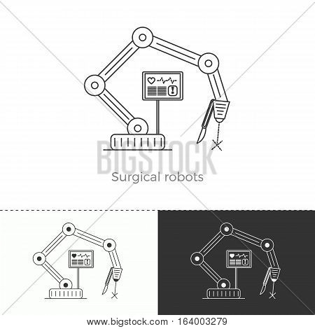 Vector illustration of future medicine trend. Medical gadgets and technological innovations. Thin line concept icon. Surgical robots.