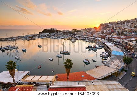 Evening view of Mikrolimano marina in Athens, Greece.