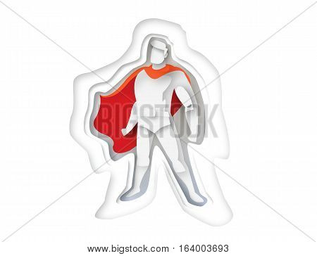 illustration of standing superhero, business power icon,costume with cape, Super Hero cartoon man character, paper style icon
