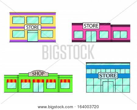 Set of store shopping mall icons. Mall shop store supermarket in flat style. Vector illustration