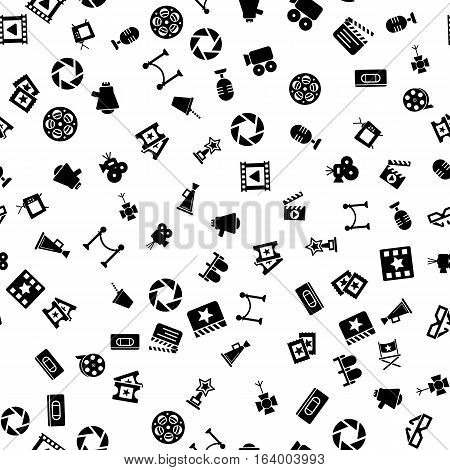 Cinema retro movies icons seamless pattern, tiling ornament on white. Vector illustration