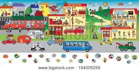 game for children: find the icons visual game - city scene