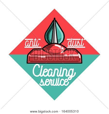 Color vintage cleaning service emblem. Vector illustration, EPS 10