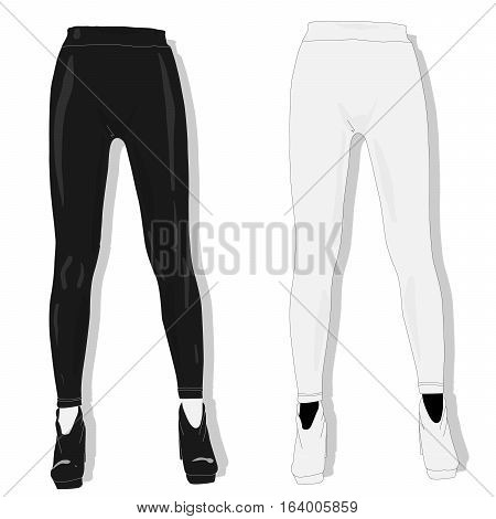 Woman leggings collection isolated on white. .
