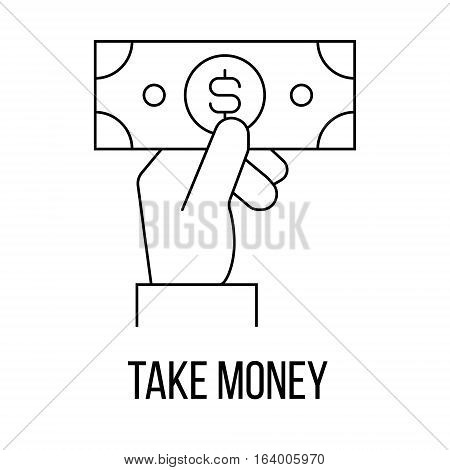 Take money icon or logo line art style. Vector Illustration.