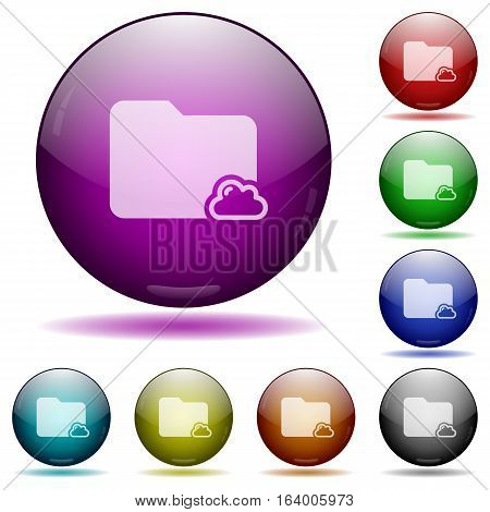 Cloud folder icons in color glass sphere buttons with shadows