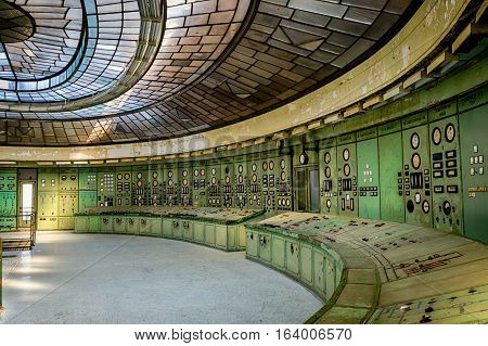 BUDAPEST HUNGARY - SEPTEMBER 11 2016: Control room of an abandoned power plant on September 11 2016 in Budapest