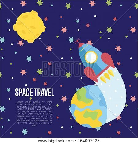 Space travel cartoon web template. Spaceship flying from Earth to distant planet in outer space vector illustration on blue background. For modern innovative space transportations company landing page