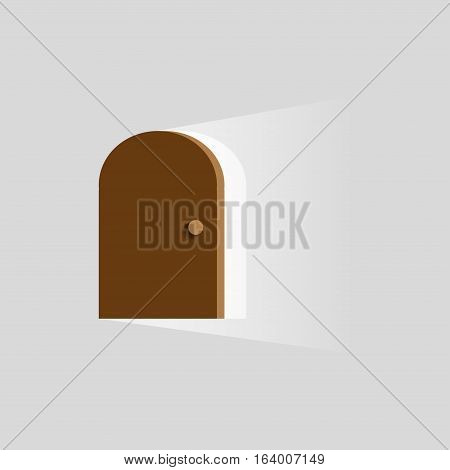 The light in the room through the open door on a gray background