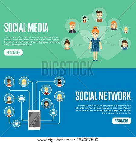 Smiling cartoon woman with own successful social network. Round people icons connected with smartphone. Social media network banners, vector illustration. Teamwork concept. Mobile communications