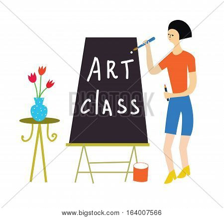 Art class illustration with a teacher and tools - vector graphic