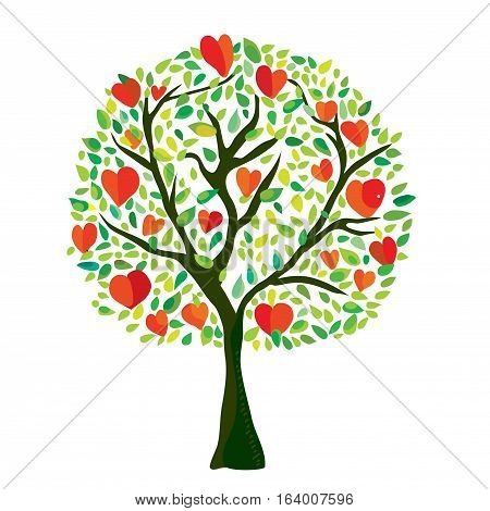 Love tree with hearts Valentine card - vector graphic illustration
