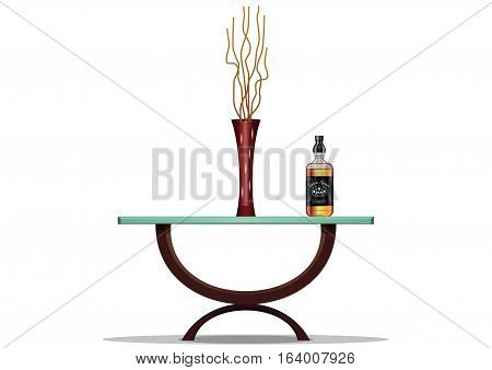 element of decor. glass table. Abstract vase with herbarium. bottle of liquor. vector illustration