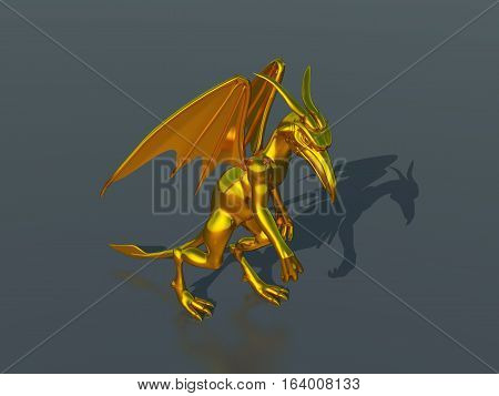 Computer generated 3D illustration with a golden gargoyle sculpture
