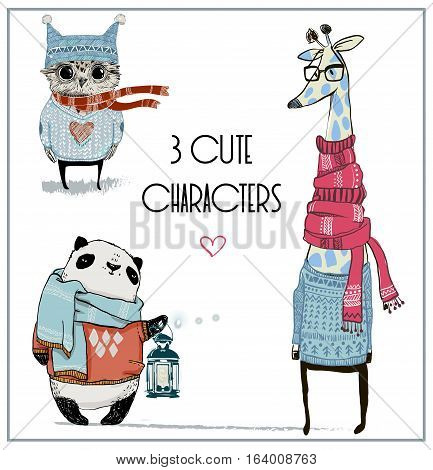 cute winter animal characters in winter closes