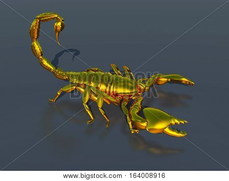 Computer generated 3D illustration with a golden scorpion