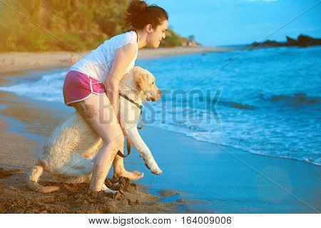 Labrador first time going to swim. Young girl take labrador dog to ocean beach