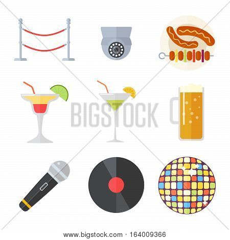 Night club colorful interior sign of bright beautiful party symbols. Event show entertainment music nightlife, clubbing vector dance elements. Colorful decoration illumination.