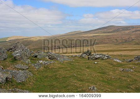 Granite rocks on Sourton Tor on Dartmoor