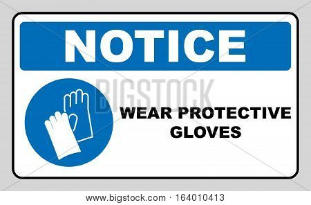 Wear Protective Gloves - Safety Sign, Warning Sign, Mandatory symbol for factory, laboratory, workers. Vector illustration isolated on white. Notice label