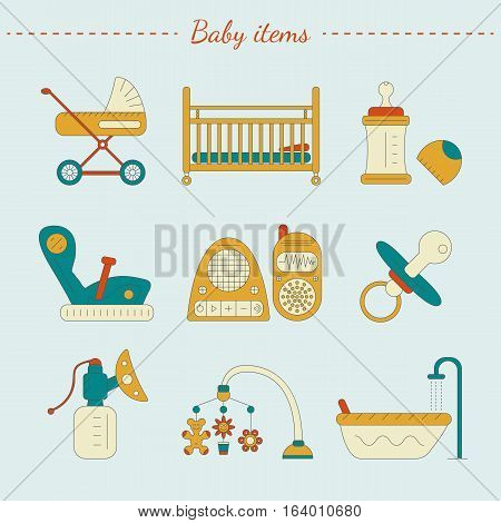 Vector illustration of baby care items. Set of infant equipment in bright colors.