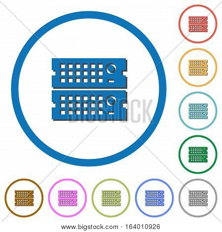 Rack servers flat color vector icons with shadows in round outlines on white background