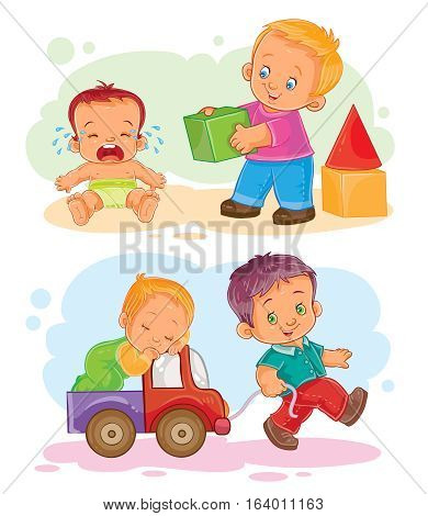 Set of vector icons of small children - playing with blocks with her brother, rolls his brother in a car
