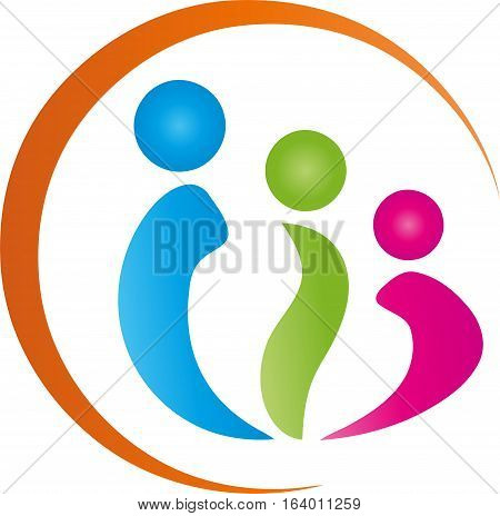 Three People, Three People, Family and Team Logo