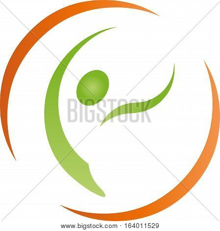 A person in motion, human and fitness logo