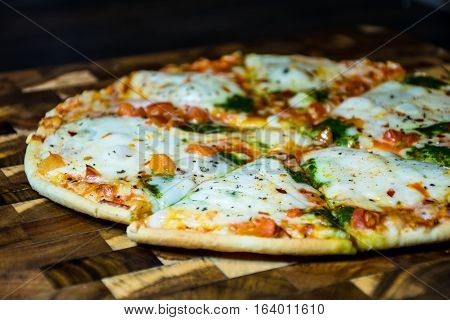 an Entire pizza cut ready to eat with melted cheese and herbs