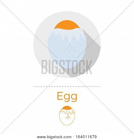 Cracked egg vector illustration in flat design style with long shadow. Round shape, isolated on white background. Thin line icon included.