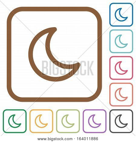 Moon shape simple icons in color rounded square frames on white background