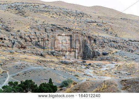 Tomb of Artaxerxes II in Persepolis ancient city in Iran