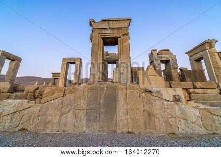 Ruins of Tachara Palace in Persepolis ancient city in Iran