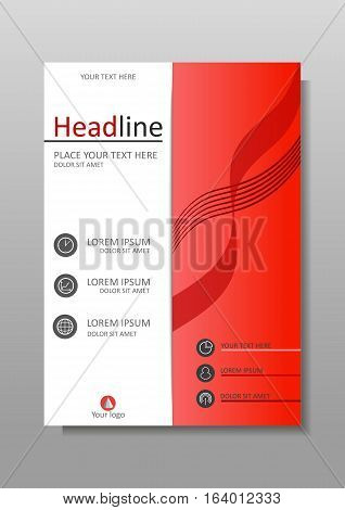 Red A4 Business Book Cover Design Template. Good for Portfolio Brochure Annual Report Flyer Magazine Academic Journal Website Poster Monograph Corporate Presentation Conference Banner.