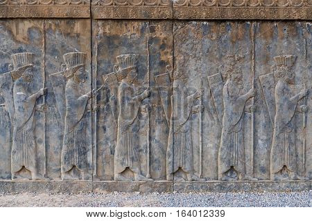 Bas relief of Tachara Palace in Persepolis ancient city in Iran