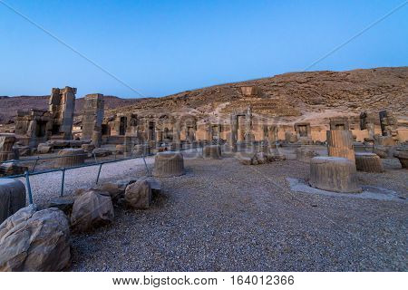 Hall of a Hundred Columns in Persepolis ancient city in Iran