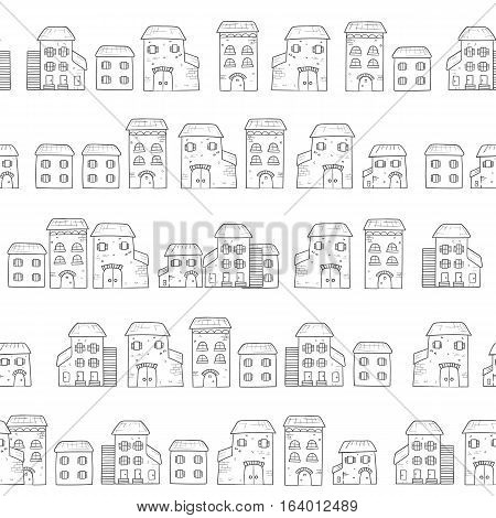 Vector cartoon cute creator castles. Set of medieval architecture.
