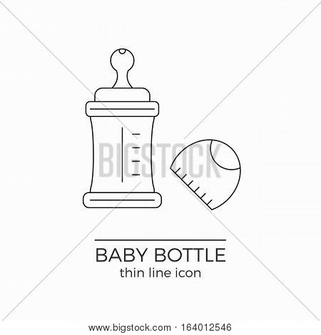 Line vector icon for baby bottle with nipple and cap on white background.