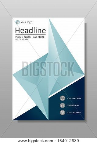 Book cover design A4 size. Annual report with geometrical figures in blue. Good for academic journals monographs books and magazines. Vector Illustration.