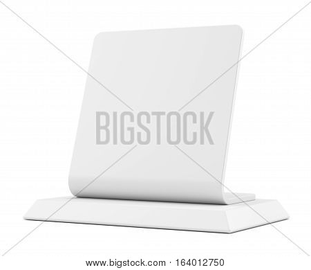 Blank table tent sign, isolated on white. 3D illustration